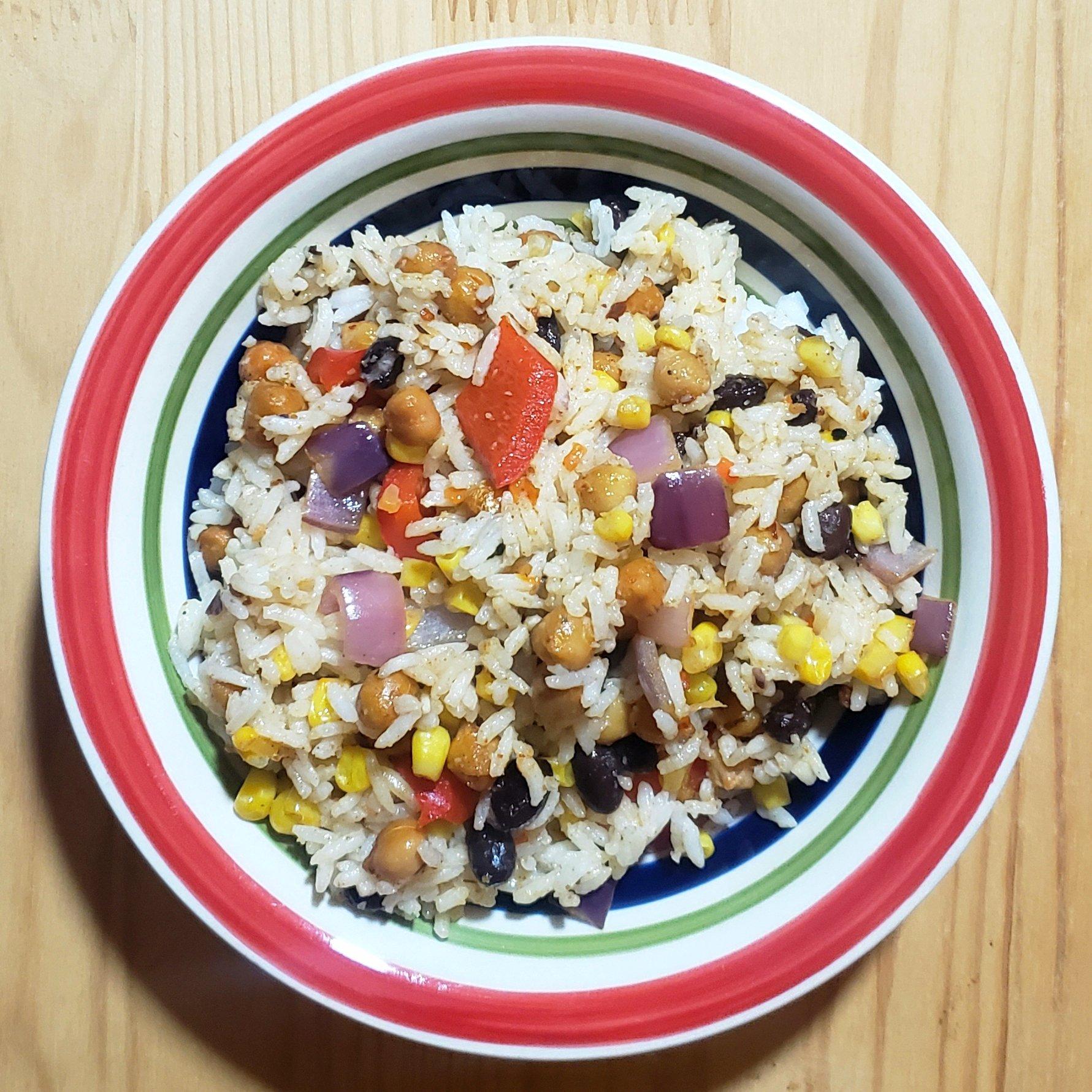 Piritott csicseris - zöldséges rizs - Vegán Kaják